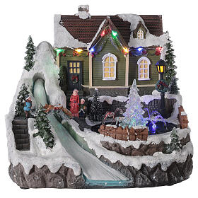 Christmas village fountain transparent tree lighted river 25x30x25 cm s1