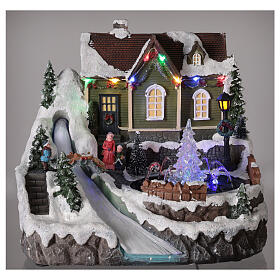 Christmas village fountain transparent tree lighted river 25x30x25 cm s2