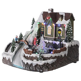 Christmas village fountain transparent tree lighted river 25x30x25 cm s3