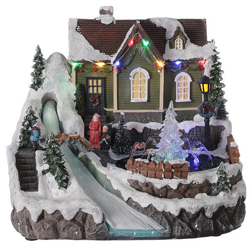 Christmas village fountain transparent tree lighted river 25x30x25 cm 1