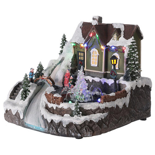 Christmas village fountain transparent tree lighted river 25x30x25 cm 3