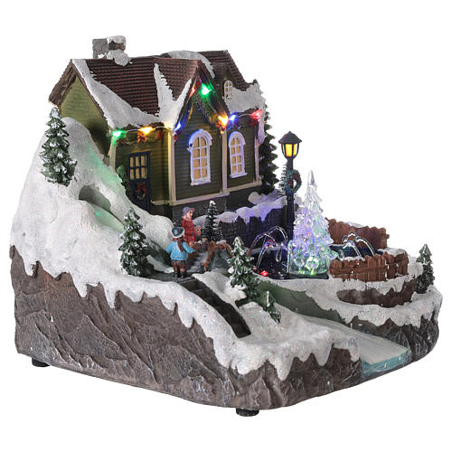 Christmas village fountain transparent tree lighted river 25x30x25 cm 4