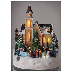 Chiesa villaggio natalizio albero glitter luci musica 35x25x30 s2