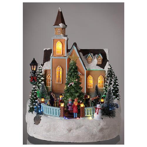 Chiesa villaggio natalizio albero glitter luci musica 35x25x30 2