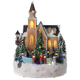 Church Christmas village glitter tree lights music 35x25x30 cm s1
