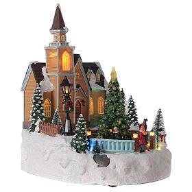 Church Christmas village glitter tree lights music 35x25x30 cm s4