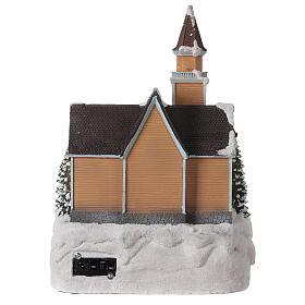 Church Christmas village glitter tree lights music 35x25x30 cm s5