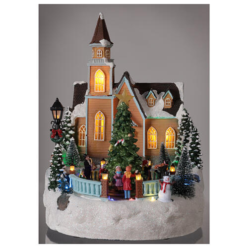 Church Christmas village glitter tree lights music 35x25x30 cm 2