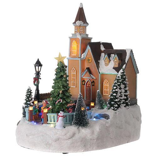 Church Christmas village glitter tree lights music 35x25x30 cm 3