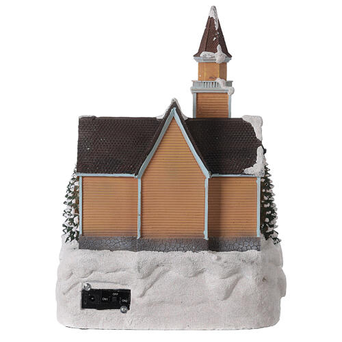 Church Christmas village glitter tree lights music 35x25x30 cm 5