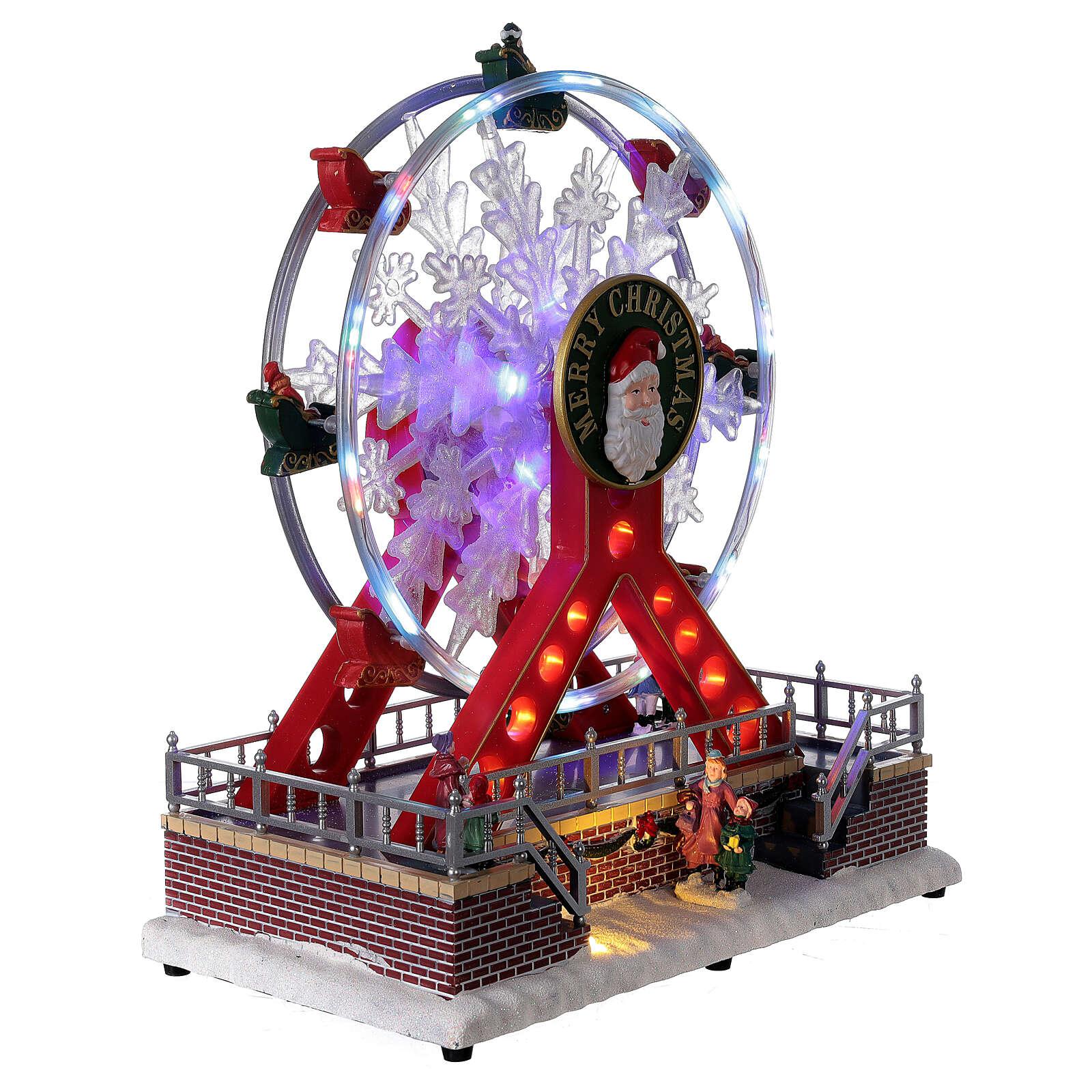 Ferris wheel Christmas snowflake LED music 25x25x15 cm 3
