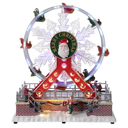 Ferris wheel Christmas snowflake LED music 25x25x15 cm 1