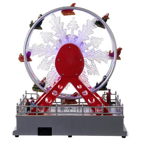Ferris wheel Christmas snowflake LED music 25x25x15 cm 5