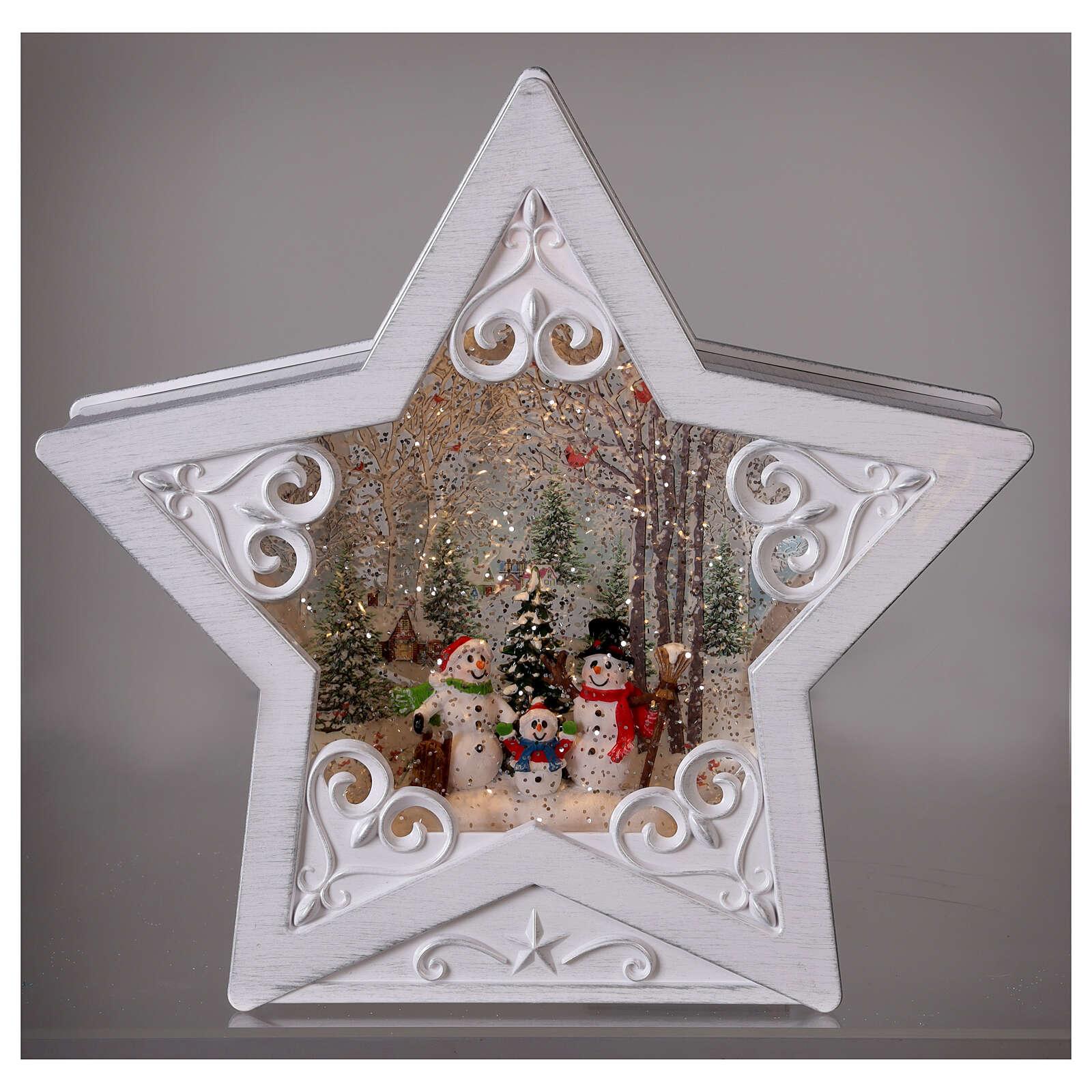 Glass star snowmen family 25x25x5 cm 3