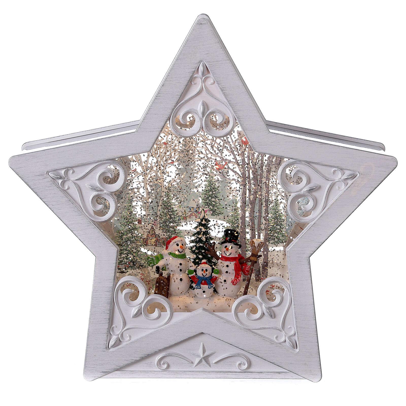 Étoile verre neige famille bonhommes de neige 25x25x5 cm 3