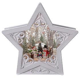 Étoile verre neige famille bonhommes de neige 25x25x5 cm s1