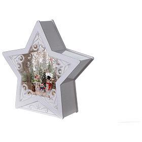Étoile verre neige famille bonhommes de neige 25x25x5 cm s3