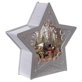 Étoile verre neige famille bonhommes de neige 25x25x5 cm s4