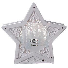 Étoile verre neige famille bonhommes de neige 25x25x5 cm s5