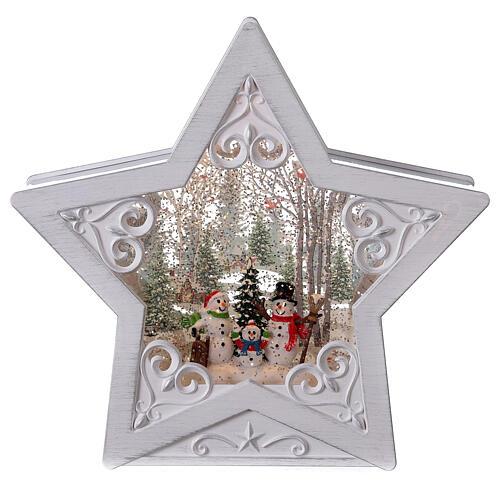 Étoile verre neige famille bonhommes de neige 25x25x5 cm 1