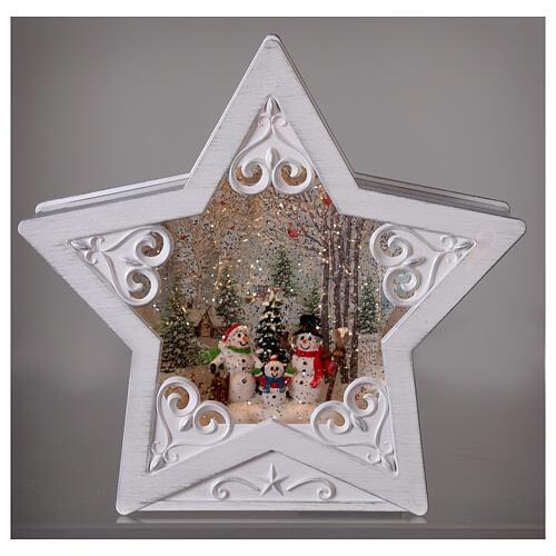 Étoile verre neige famille bonhommes de neige 25x25x5 cm 2