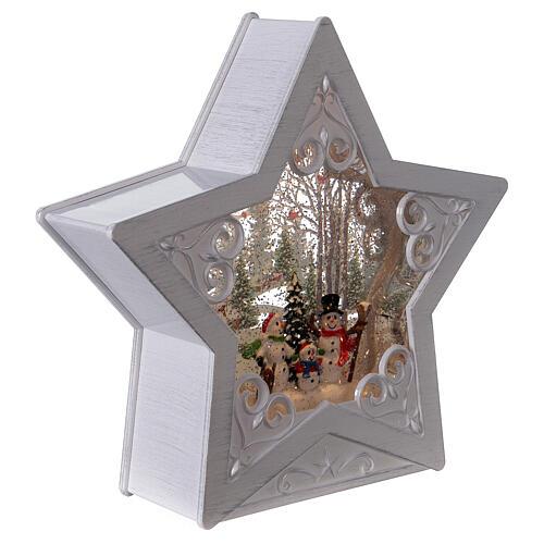 Étoile verre neige famille bonhommes de neige 25x25x5 cm 4
