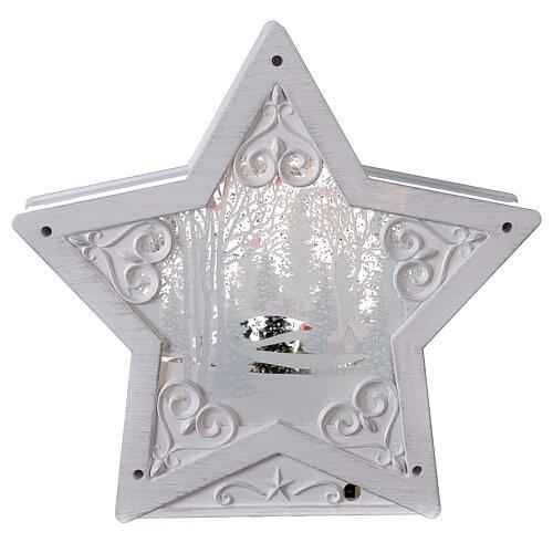 Étoile verre neige famille bonhommes de neige 25x25x5 cm 5