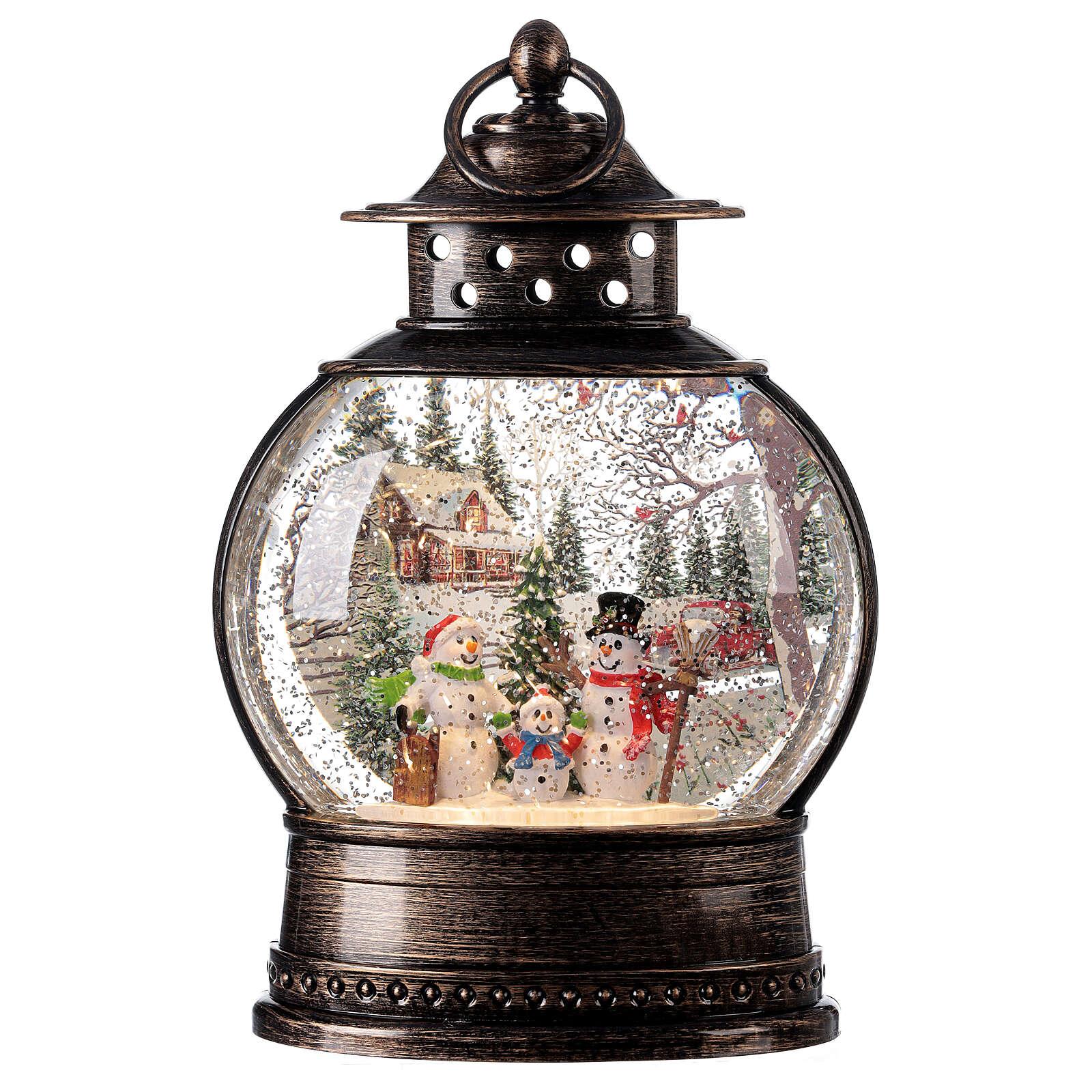Snow globe lantern snowmen family LED lights 30x20x10 cm 3