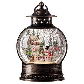 Snow globe lantern snowmen family LED lights 30x20x10 cm s1