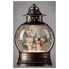 Snow globe lantern snowmen family LED lights 30x20x10 cm s2
