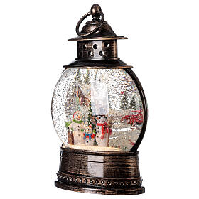 Snow globe lantern snowmen family LED lights 30x20x10 cm s3
