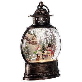 Snow globe lantern snowmen family LED lights 30x20x10 cm s4