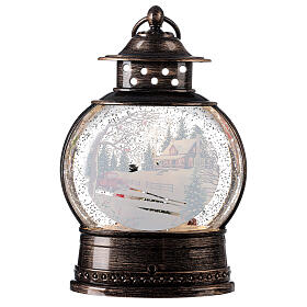 Snow globe lantern snowmen family LED lights 30x20x10 cm s5