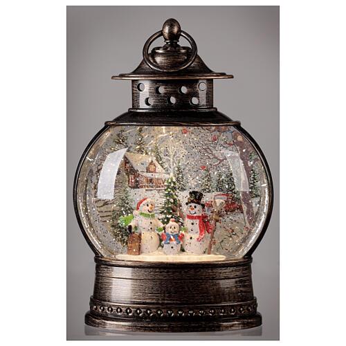 Snow globe lantern snowmen family LED lights 30x20x10 cm 2