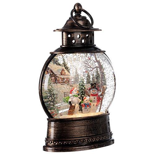 Snow globe lantern snowmen family LED lights 30x20x10 cm 4