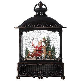 Square lantern snow globe Santa Claus LED 30x20x10 cm s1