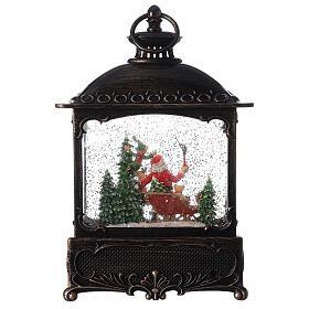 Square lantern snow globe Santa Claus LED 30x20x10 cm s5