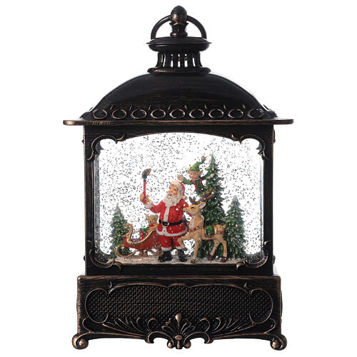 Square lantern snow globe Santa Claus LED 30x20x10 cm 1