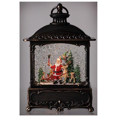 Square lantern snow globe Santa Claus LED 30x20x10 cm 2
