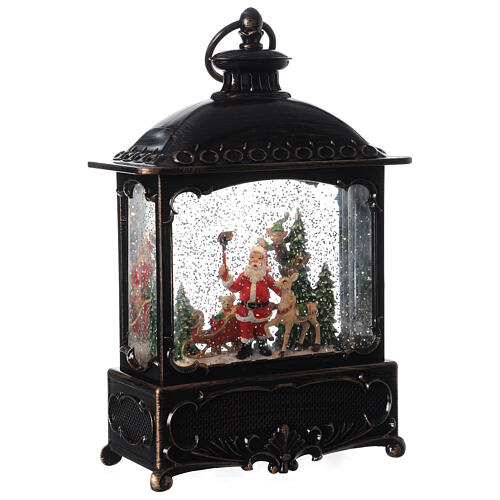 Square lantern snow globe Santa Claus LED 30x20x10 cm 4