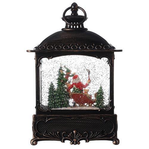 Square lantern snow globe Santa Claus LED 30x20x10 cm 5