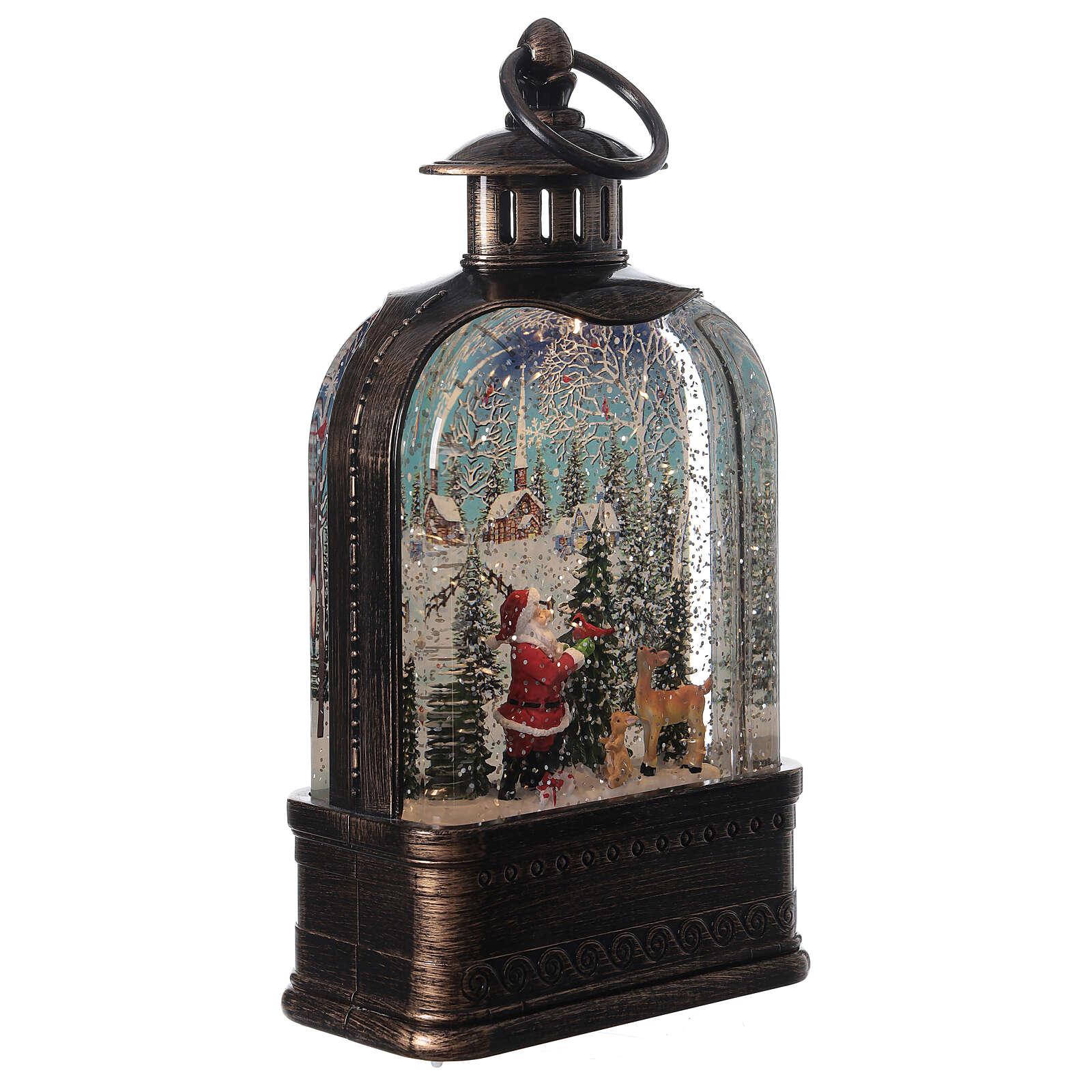 Szklana kula śnieżna latarenka pejzaż Święty Mikołaj 25x15x5 cm 3