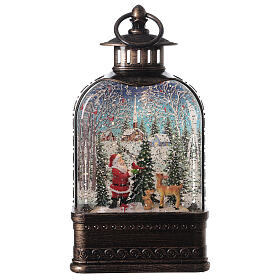 Szklana kula śnieżna latarenka pejzaż Święty Mikołaj 25x15x5 cm s1