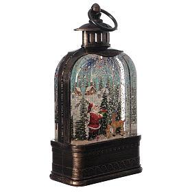 Szklana kula śnieżna latarenka pejzaż Święty Mikołaj 25x15x5 cm s4