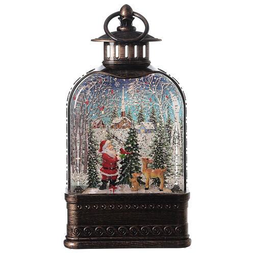 Szklana kula śnieżna latarenka pejzaż Święty Mikołaj 25x15x5 cm 1