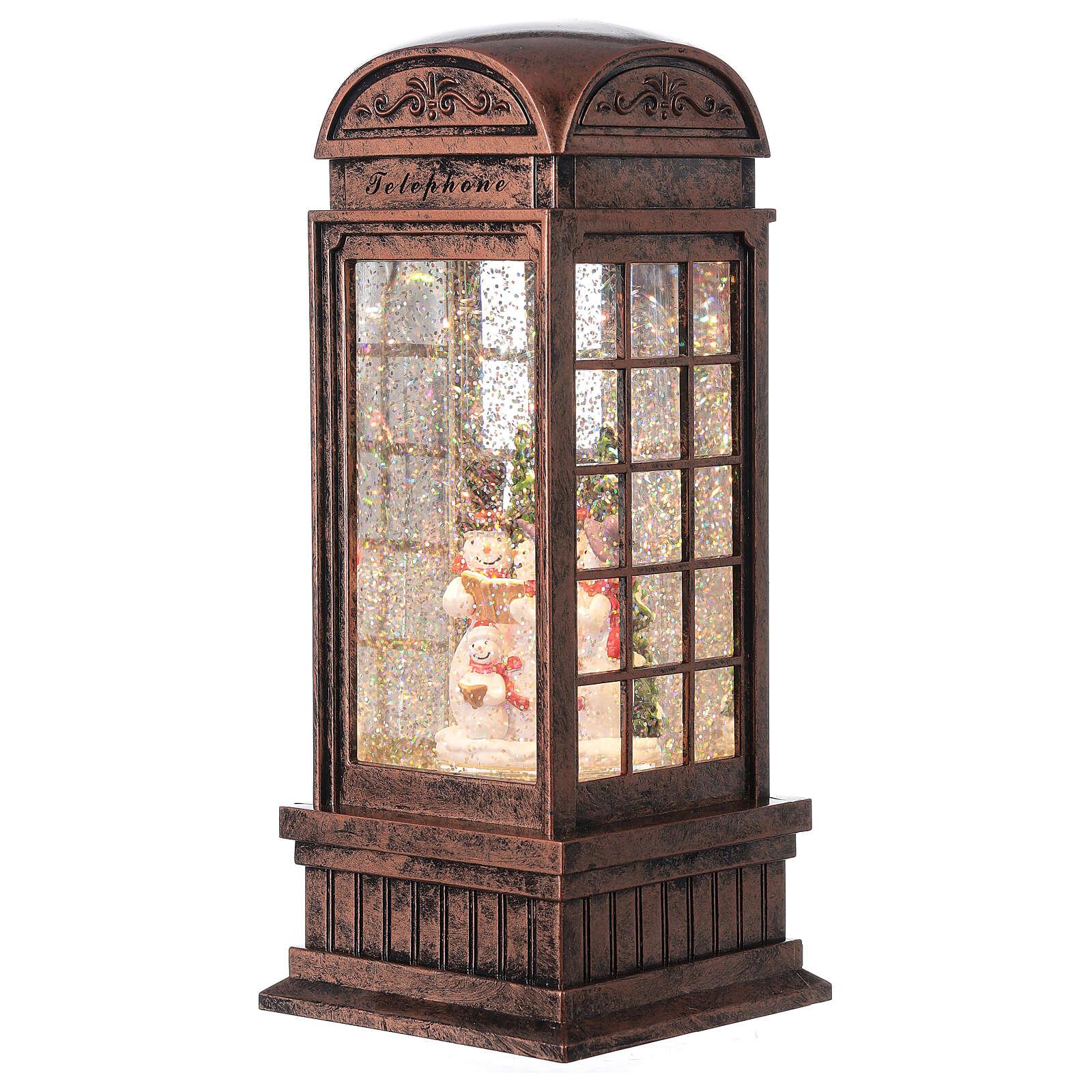 Telephone booth snow globe snowmen family LEDs 25x10x10 cm 3