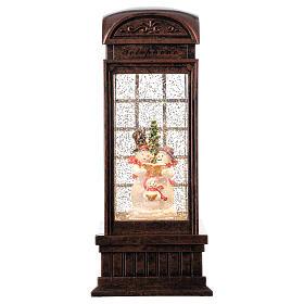 Telephone booth snow globe snowmen family LEDs 25x10x10 cm s1