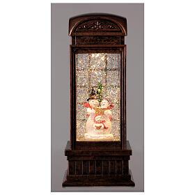 Telephone booth snow globe snowmen family LEDs 25x10x10 cm s2