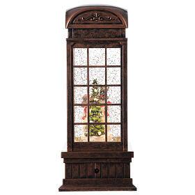 Telephone booth snow globe snowmen family LEDs 25x10x10 cm s5