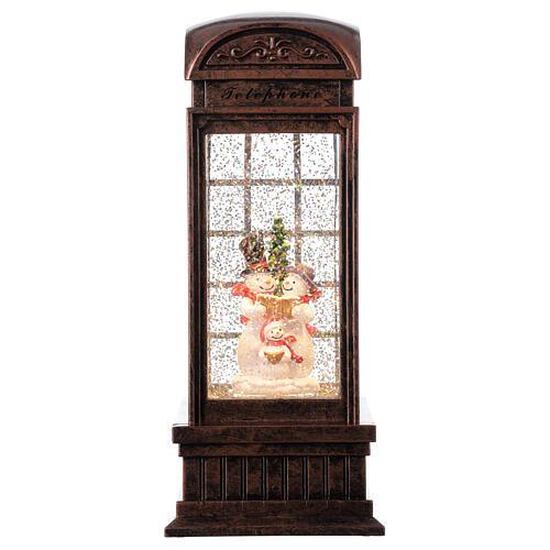 Telephone booth snow globe snowmen family LEDs 25x10x10 cm 1